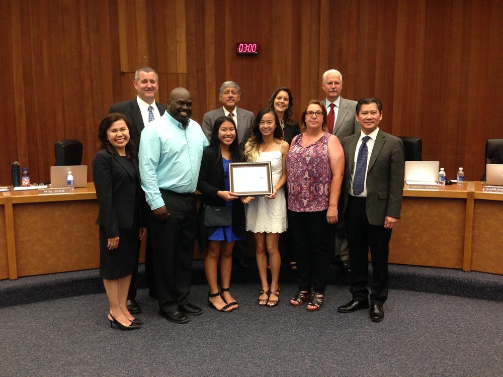 Girls Track Team receives honors for the ESUHSD Board of Education